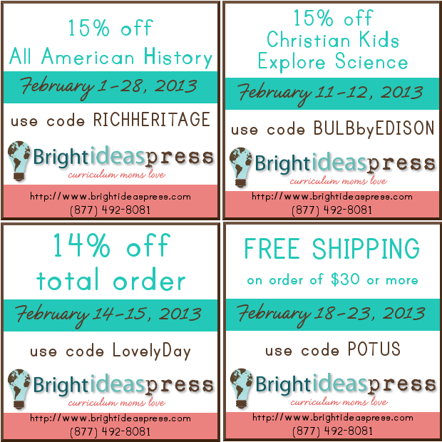 February 2013 discount codes for Bright Ideas Press @brightideasteam